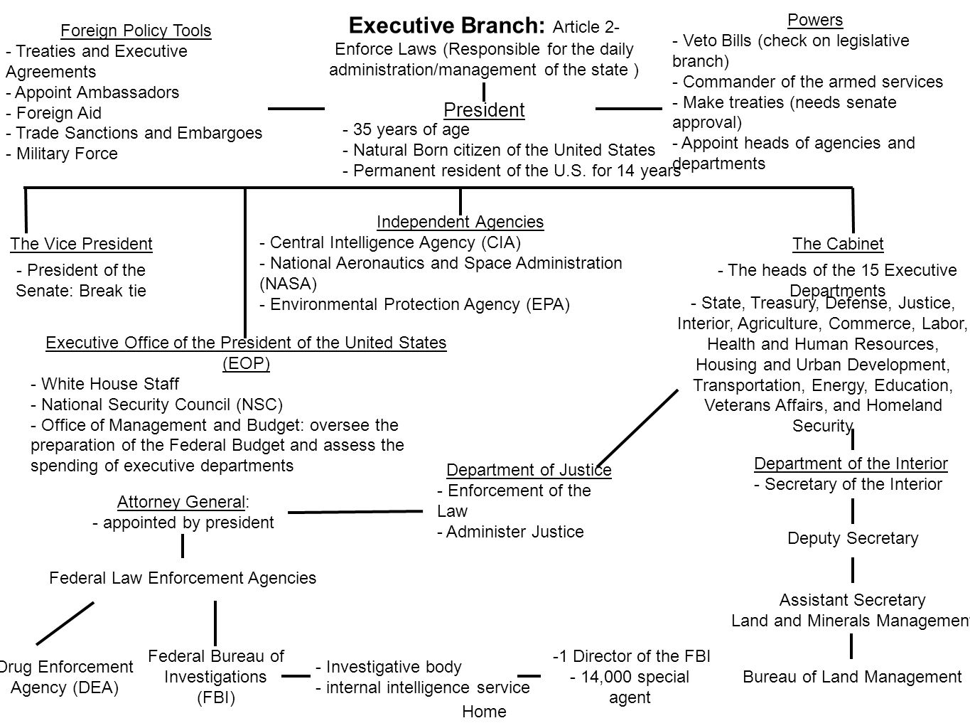 Executive Branch: Article 2- Enforce Laws (Responsible for the daily administration/management of the state )