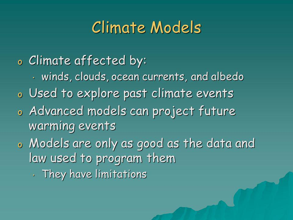 Climate Models Climate affected by: