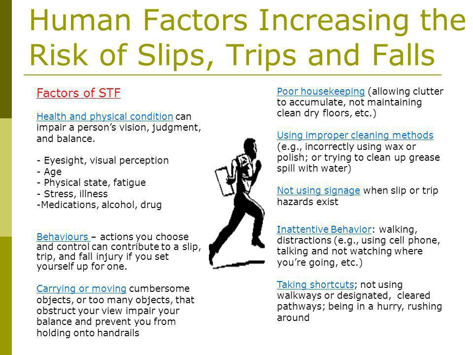 Human Factors Increasing the Risk of Slips, Trips and Falls