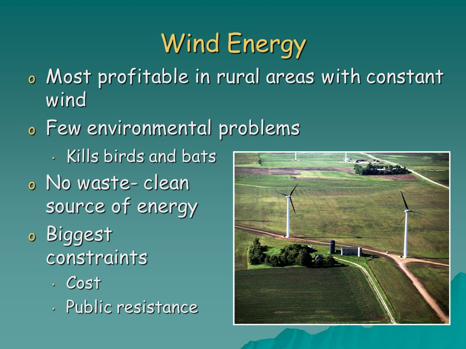 Wind Energy Most profitable in rural areas with constant wind