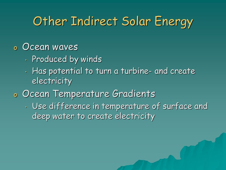 Other Indirect Solar Energy