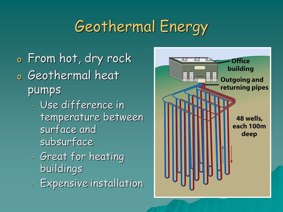 Geothermal Energy From hot, dry rock Geothermal heat pumps