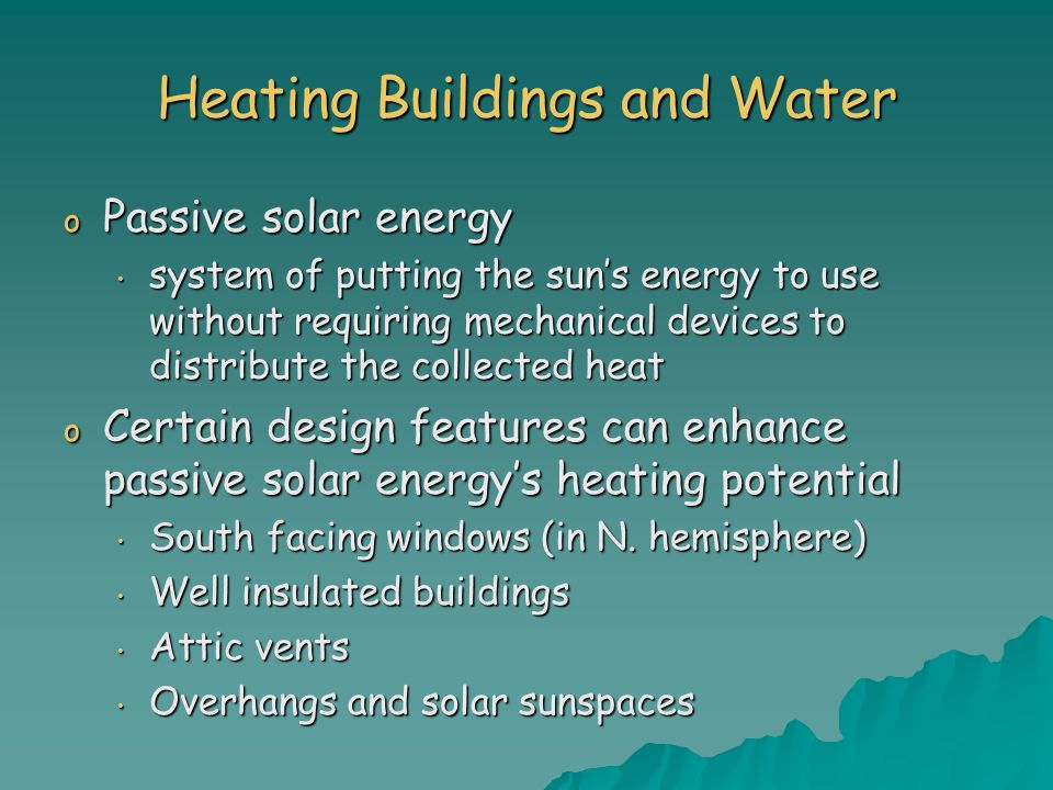 Heating Buildings and Water