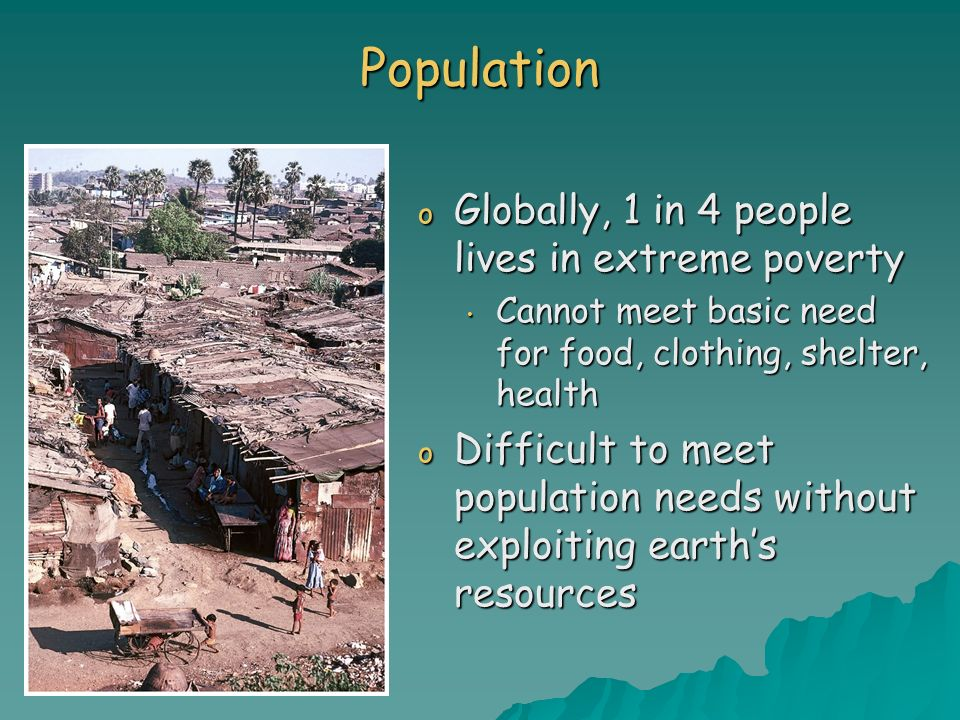 Population Globally, 1 in 4 people lives in extreme poverty