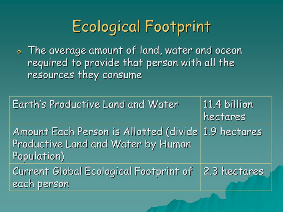 Ecological FootprintThe average amount of land, water and ocean required to provide that person with all the resources they consume.