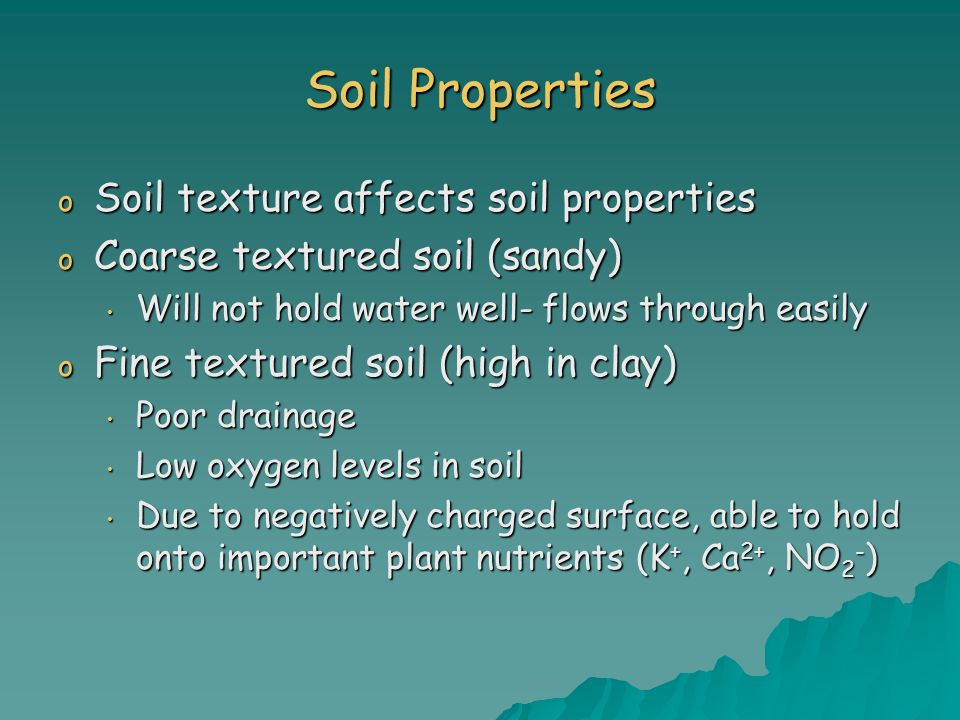 Soil Properties Soil texture affects soil properties