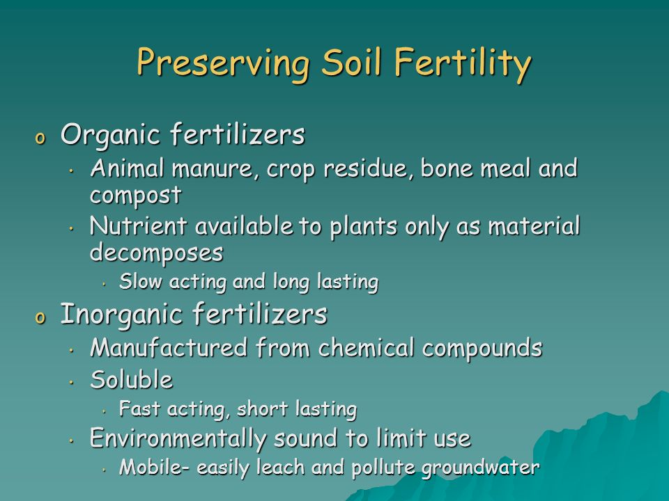 Preserving Soil Fertility