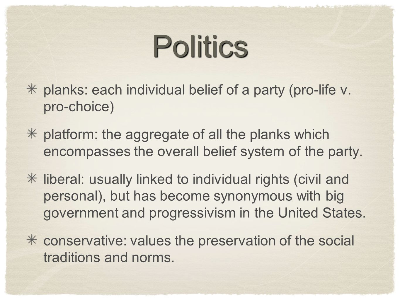 Politics planks: each individual belief of a party (pro-life v. pro-choice)