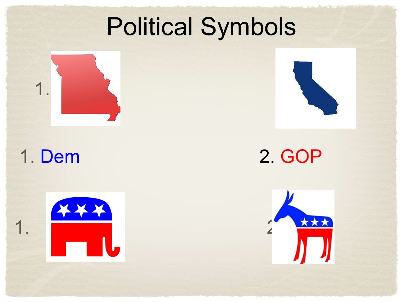 Chapter 9 political party systems ppt video online download political symbols 1 2 1 dem 2 gop buycottarizona