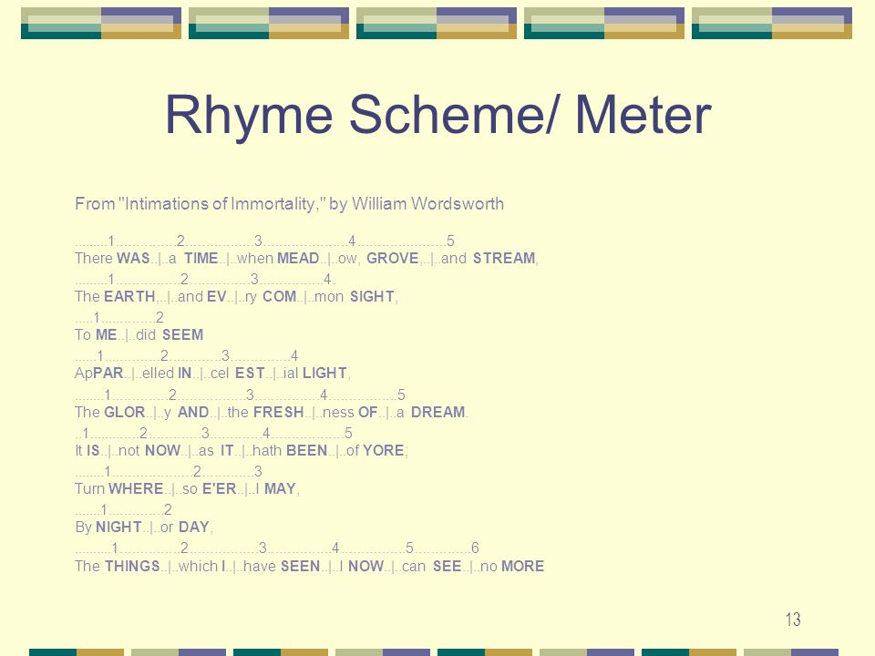 Rhyme Scheme/ Meter From Intimations of Immortality, by William Wordsworth.