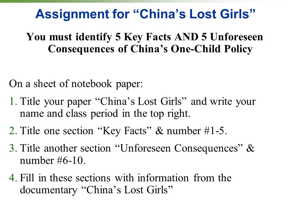 Assignment for China's Lost Girls