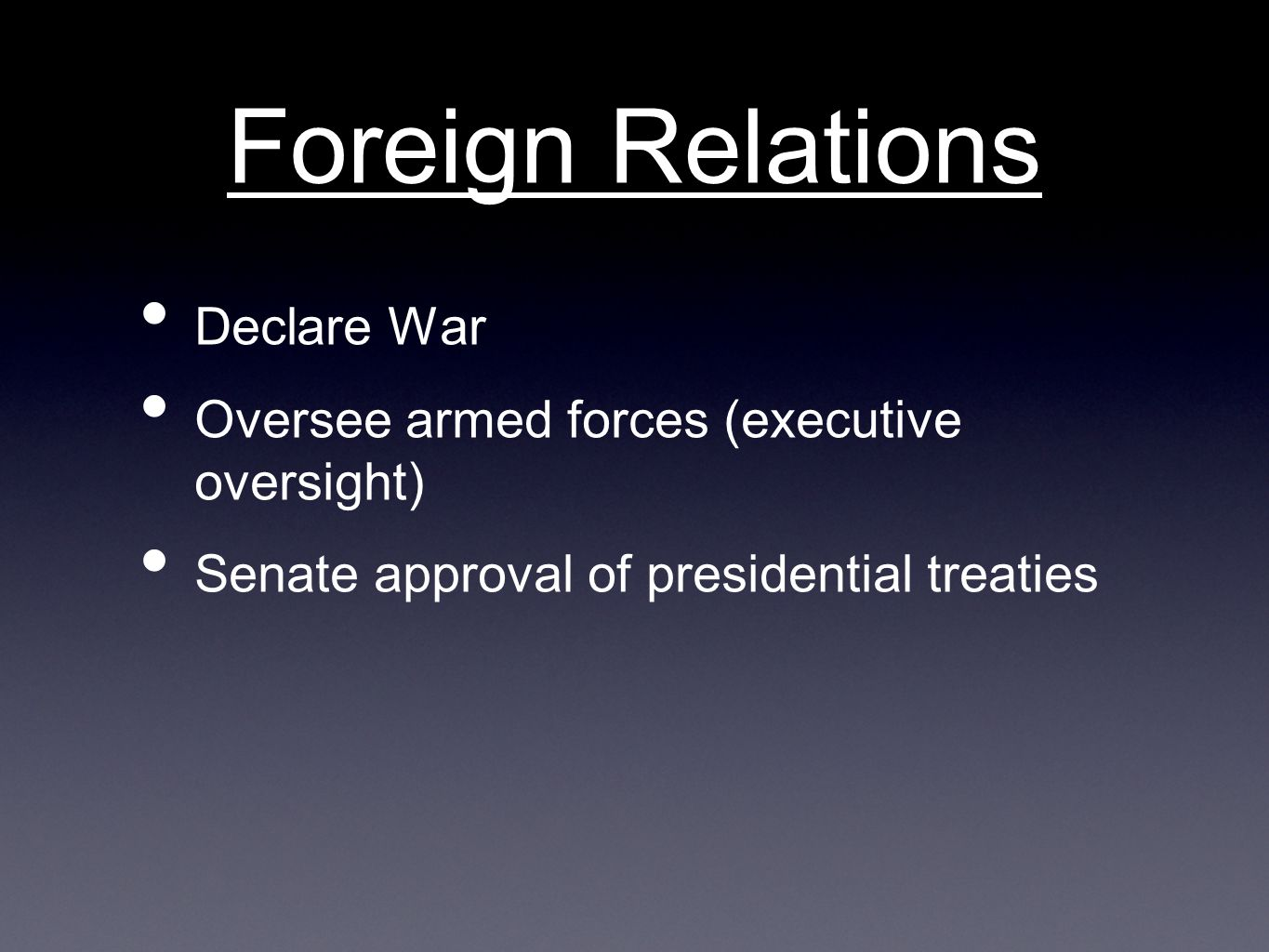 Foreign Relations Declare War
