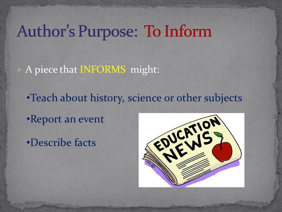 Author's Purpose: To Inform