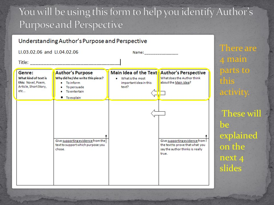 You will be using this form to help you identify Author's Purpose and Perspective