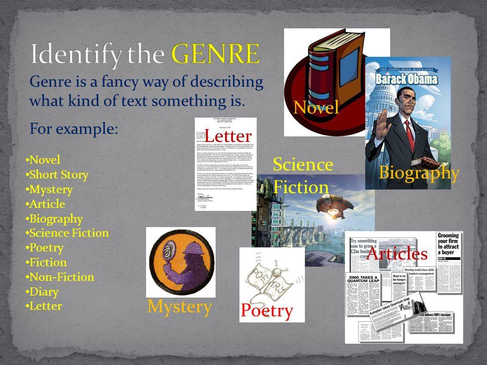 Identify the GENRE Novel Letter Science Fiction Biography Articles