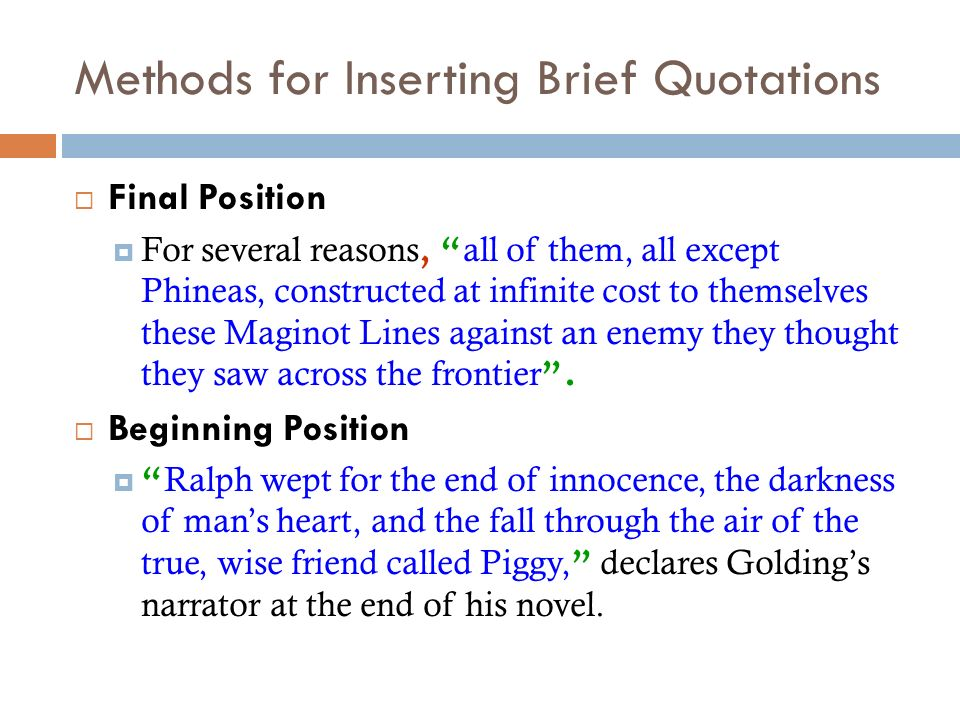 Methods for Inserting Brief Quotations