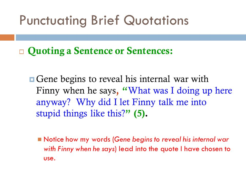 Punctuating Brief Quotations