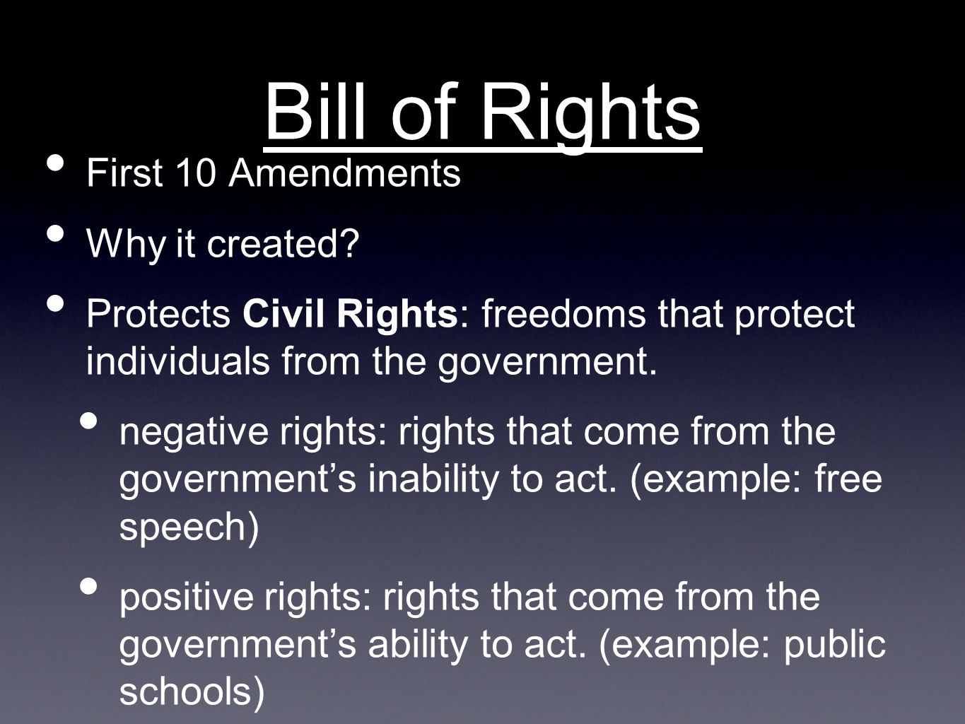 Bill of Rights First 10 Amendments Why it created