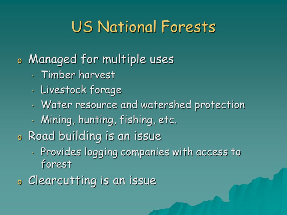 US National Forests Managed for multiple uses