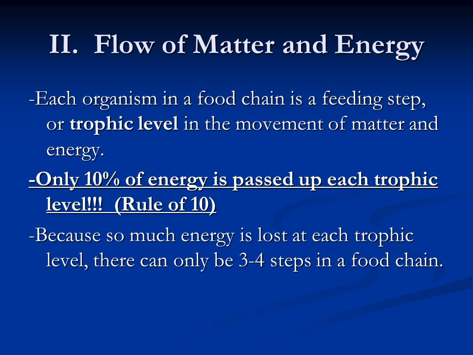 II. Flow of Matter and Energy