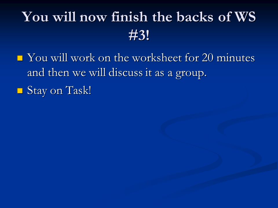 You will now finish the backs of WS #3!