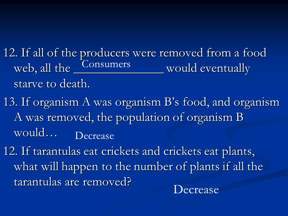 12. If all of the producers were removed from a food web, all the ______________ would eventually starve to death.