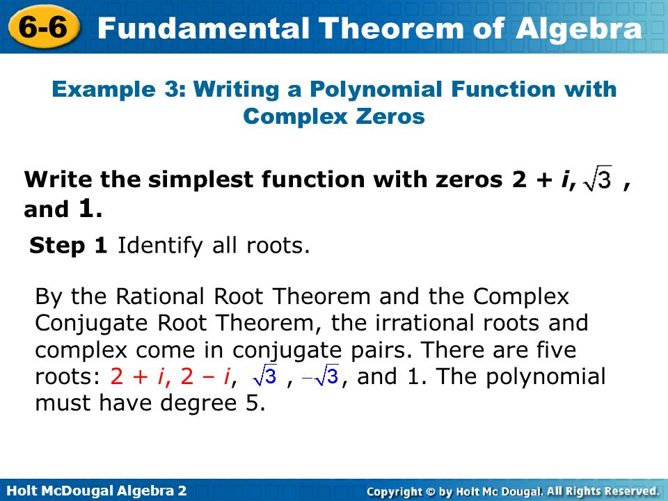 Example 3: Writing a Polynomial Function with Complex Zeros