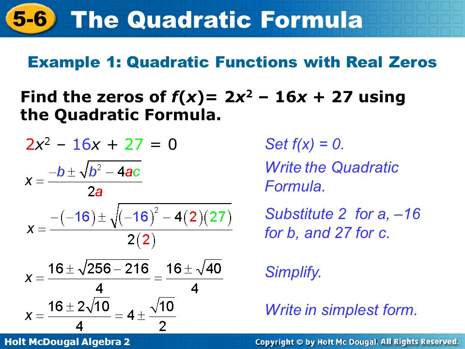 Example 1: Quadratic Functions with Real Zeros
