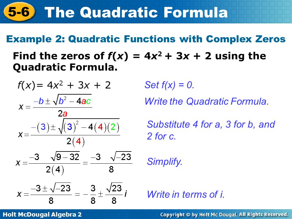 Example 2: Quadratic Functions with Complex Zeros