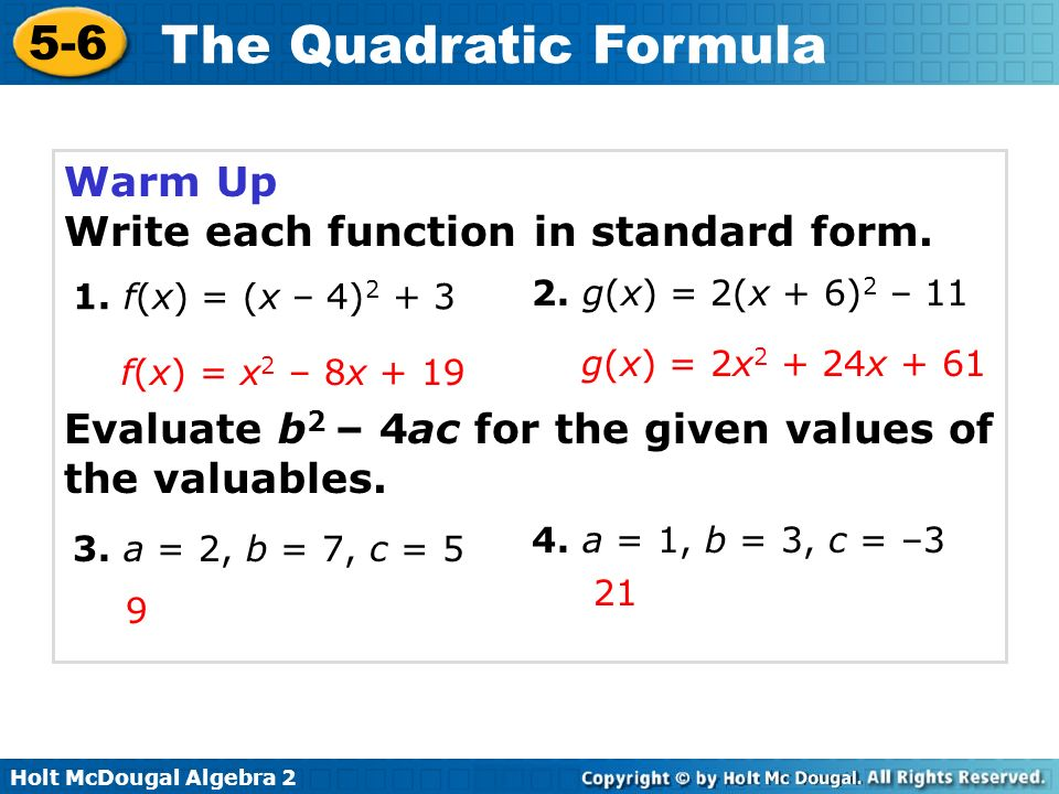 Write each function in standard form.