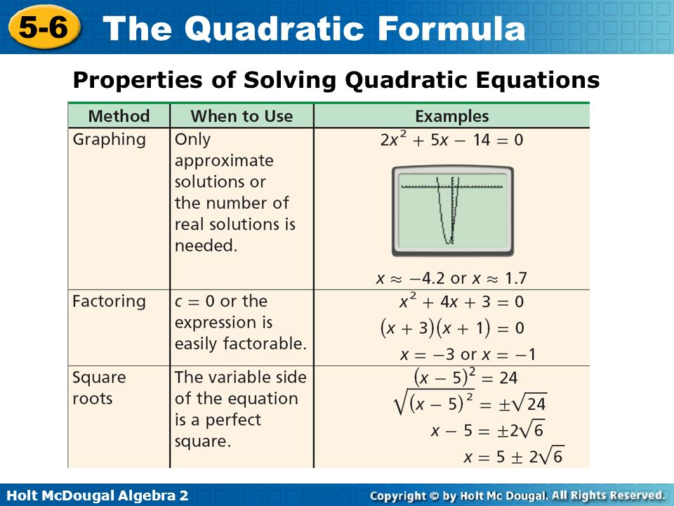 Properties of Solving Quadratic Equations
