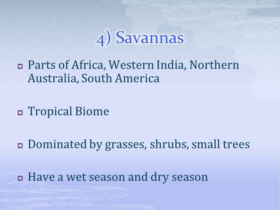 4) Savannas Parts of Africa, Western India, Northern Australia, South America. Tropical Biome. Dominated by grasses, shrubs, small trees.