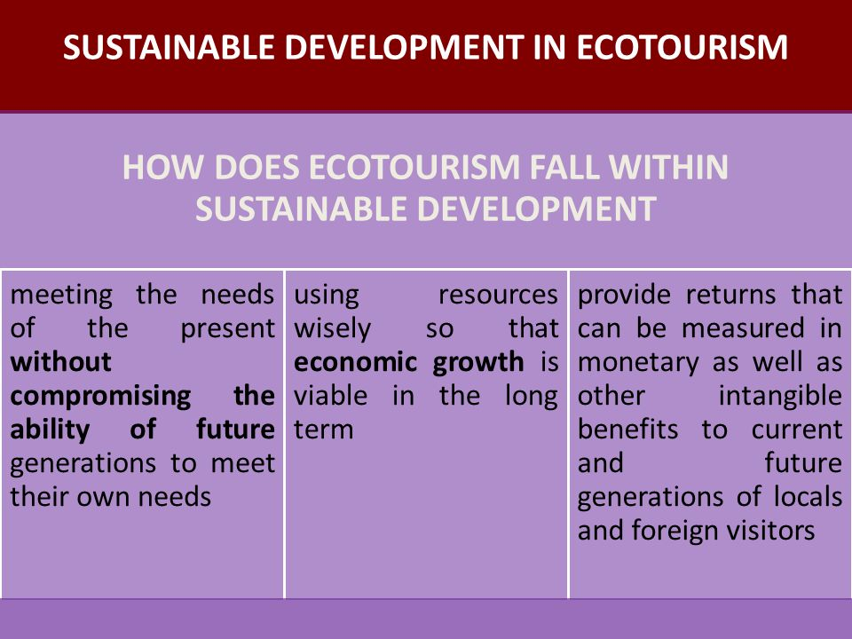 is ecotourism a viable tool toward Hiring local guides is a good first step toward  and tourists themselves in developing viable ecotourism  such reserves represent a major tool for.