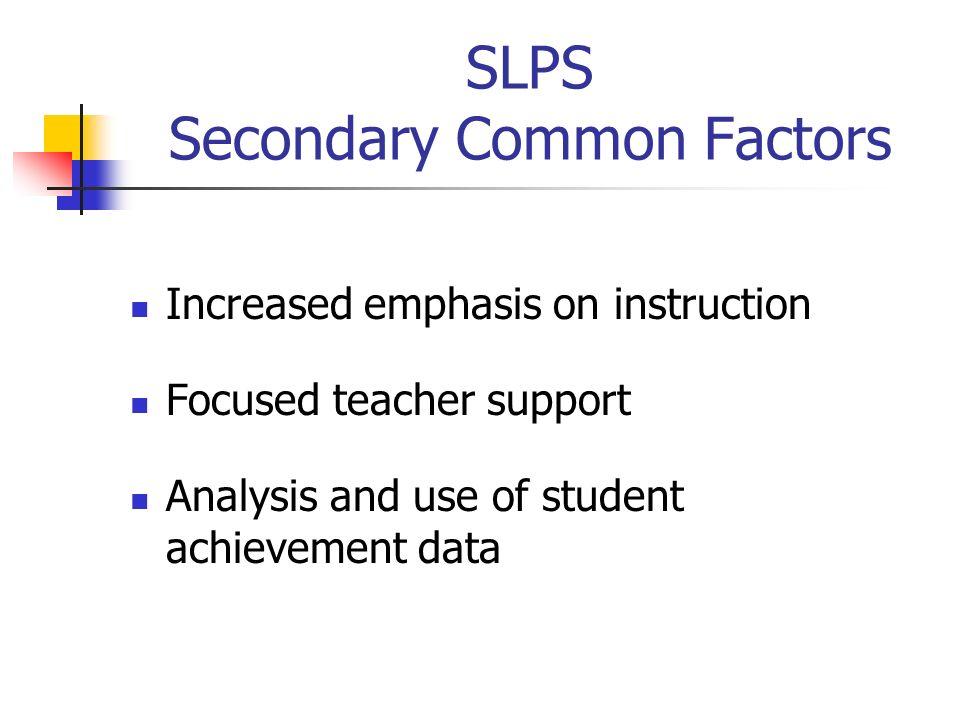 SLPS Secondary Common Factors