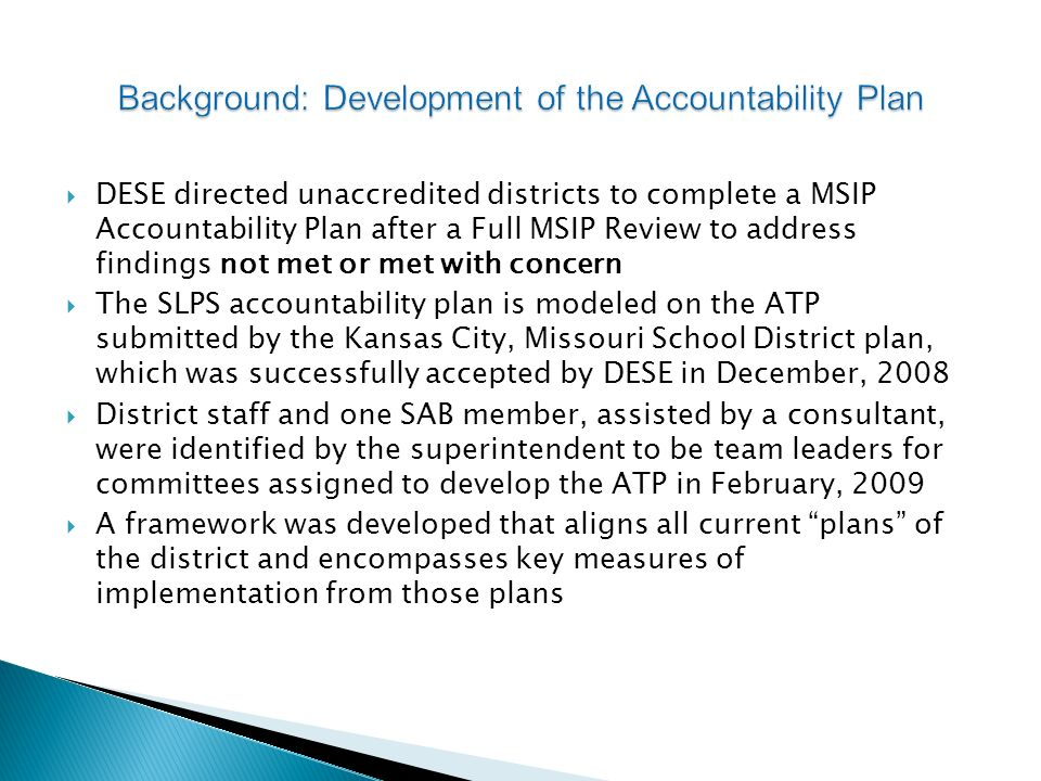 Background: Development of the Accountability Plan