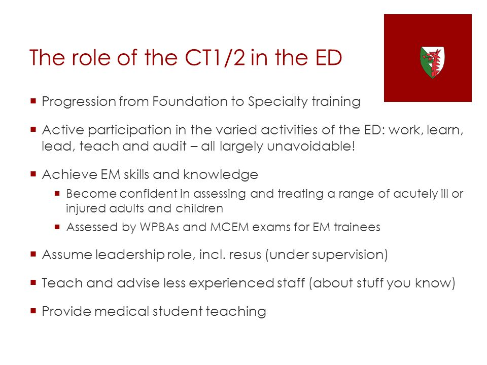 The role of the CT1/2 in the ED