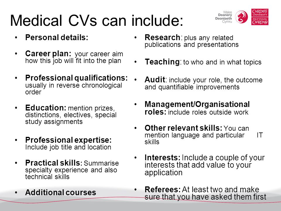 Medical CVs can include: