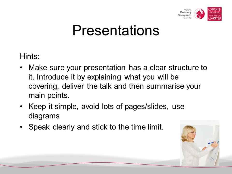 Presentations Hints: