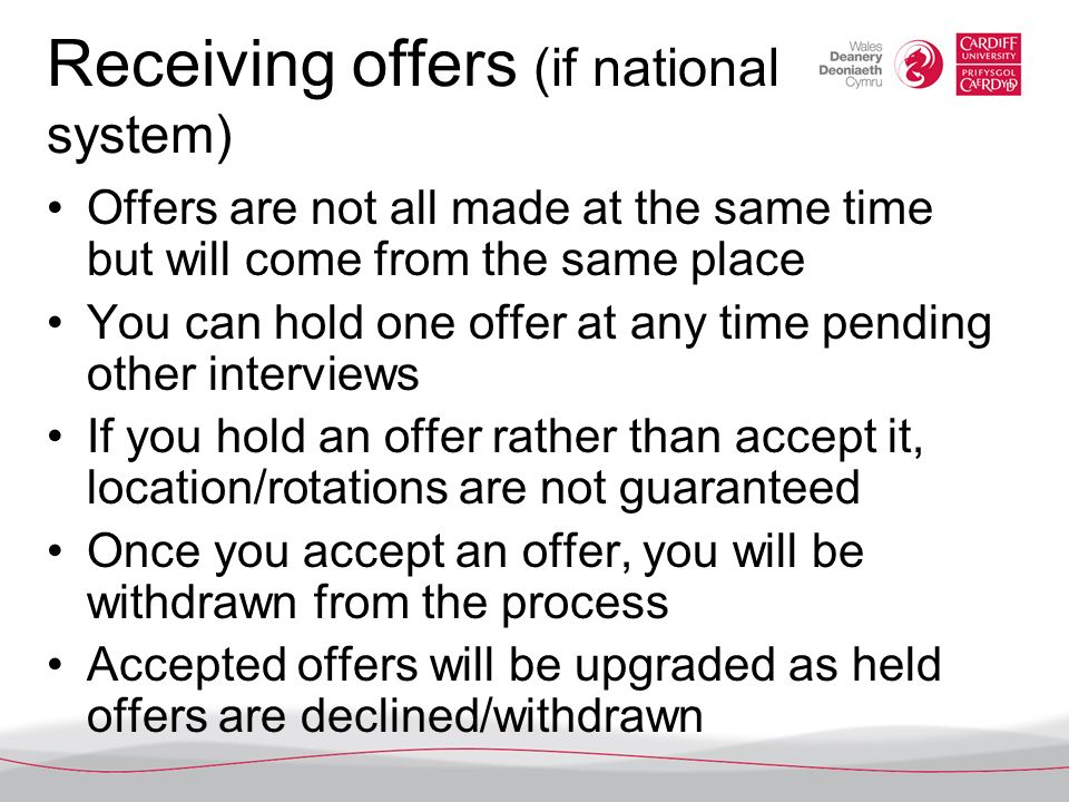 Receiving offers (if national system)