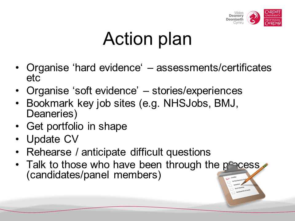 Action plan Organise 'hard evidence' – assessments/certificates etc