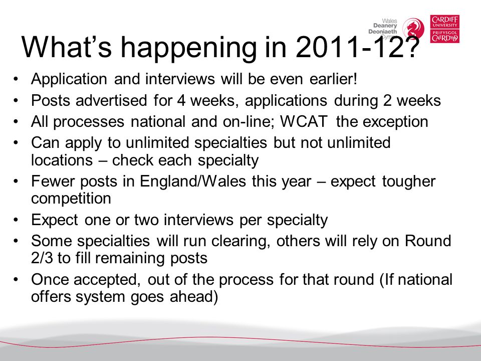 What's happening in 2011-12 Application and interviews will be even earlier! Posts advertised for 4 weeks, applications during 2 weeks.