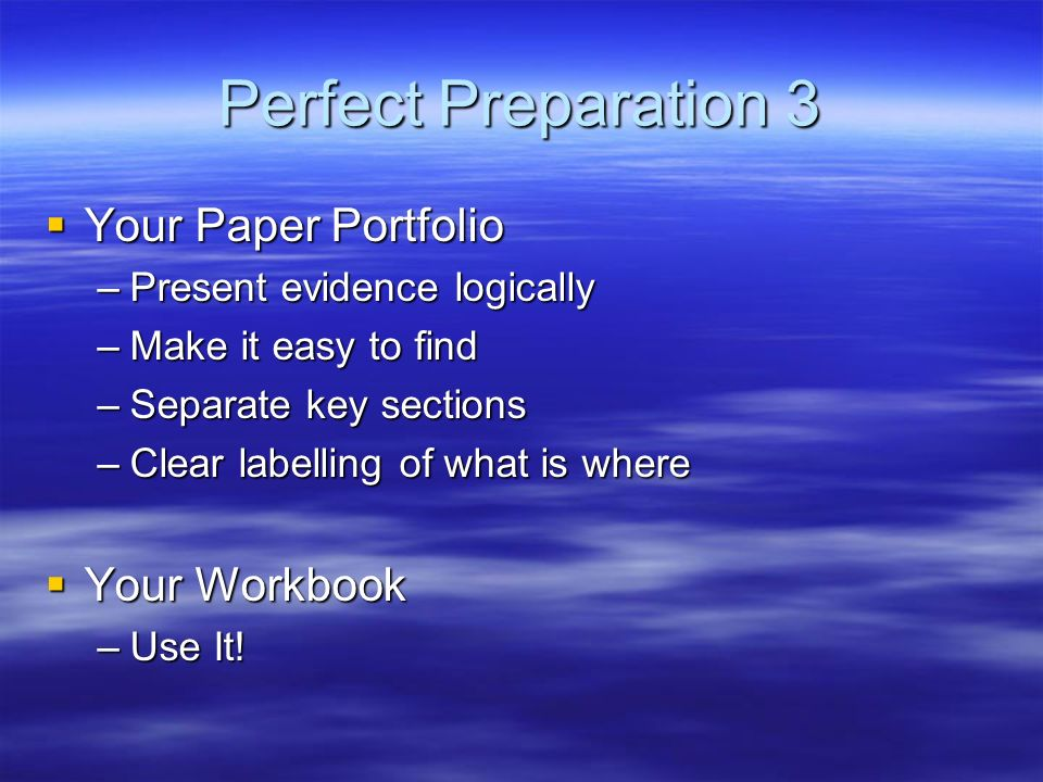 Perfect Preparation 3 Your Paper Portfolio Your Workbook