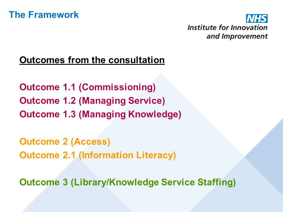 The Framework Outcomes from the consultation. Outcome 1.1 (Commissioning) Outcome 1.2 (Managing Service)