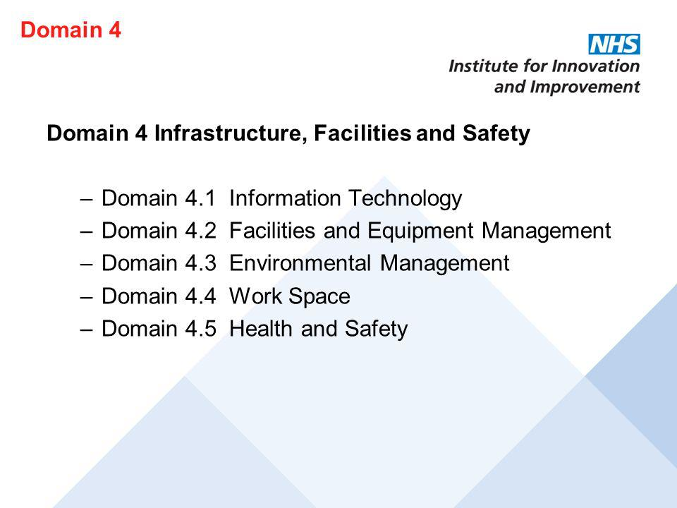 Domain 4 Domain 4 Infrastructure, Facilities and Safety. Domain 4.1 Information Technology. Domain 4.2 Facilities and Equipment Management.