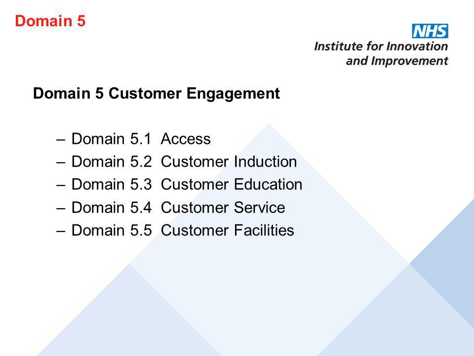 Domain 5 Domain 5 Customer Engagement. Domain 5.1 Access. Domain 5.2 Customer Induction. Domain 5.3 Customer Education.