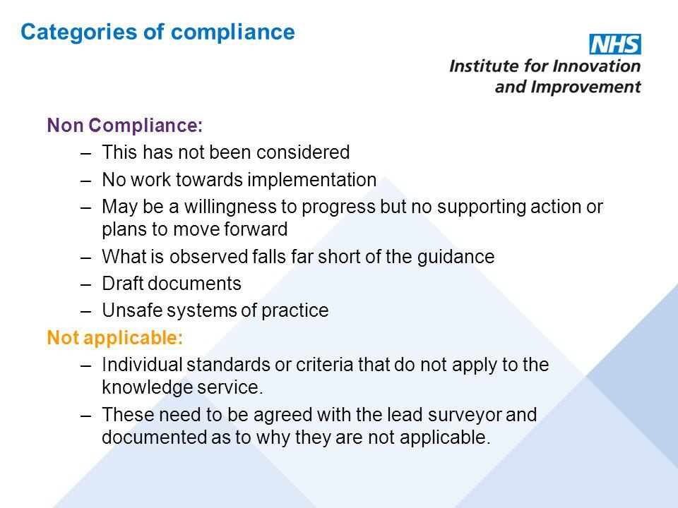 Categories of compliance