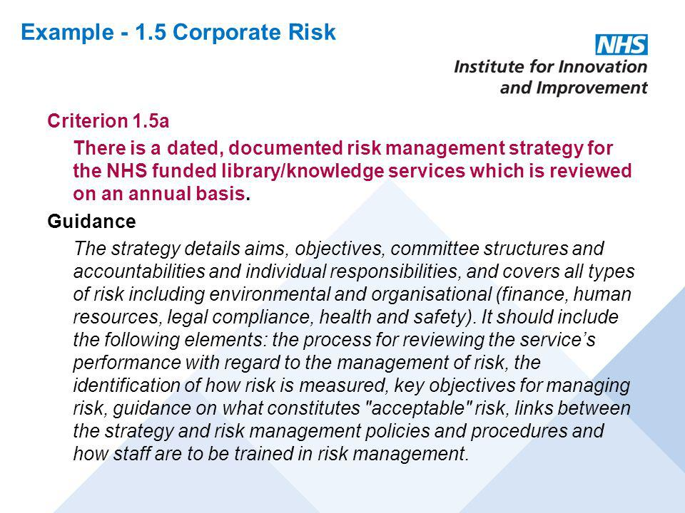 Example - 1.5 Corporate Risk