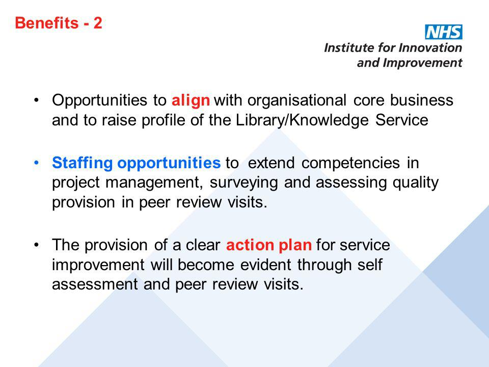 Benefits - 2 Opportunities to align with organisational core business and to raise profile of the Library/Knowledge Service.