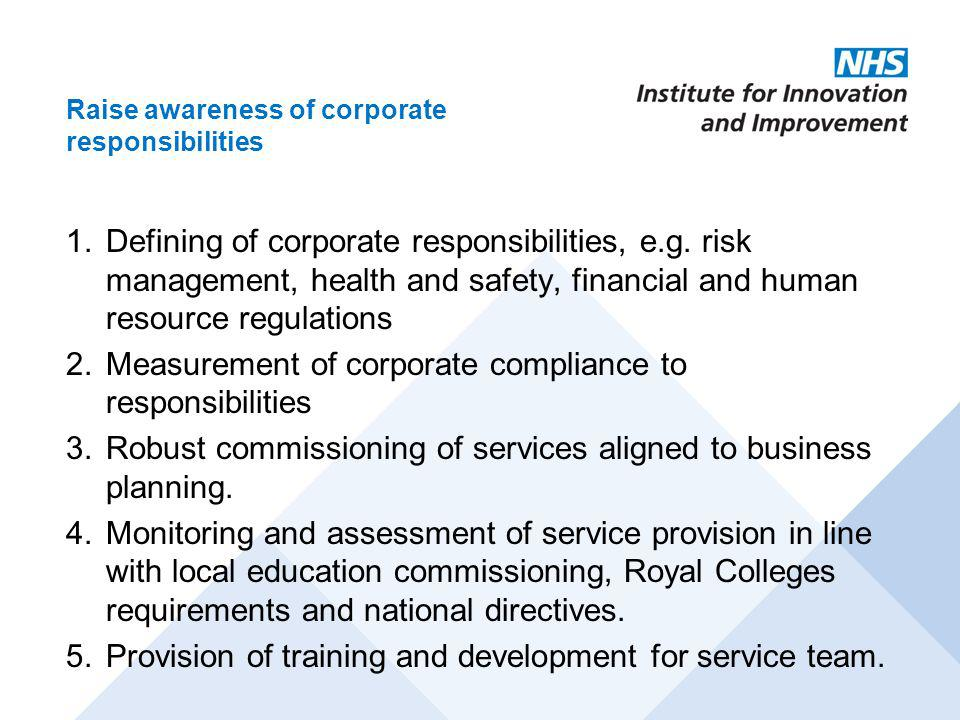 Measurement of corporate compliance to responsibilities