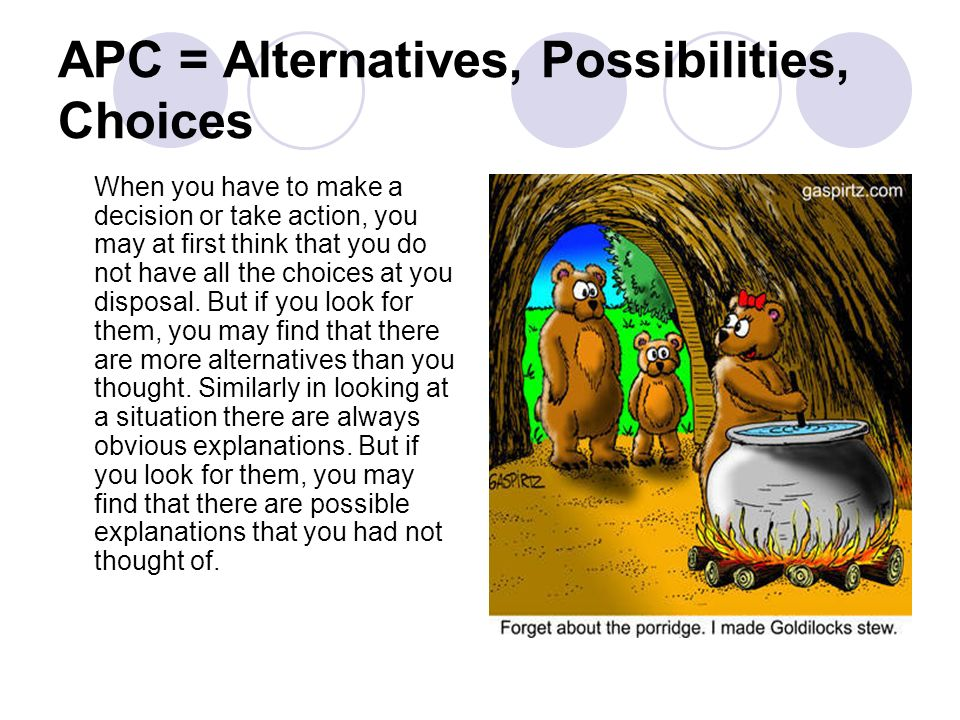 APC = Alternatives, Possibilities, Choices